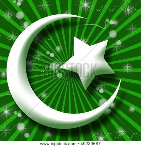 White Islam symbol in green bust Burst and Sparkle poster