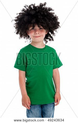 Funny Young Boy Wearing A Big Black Wig.