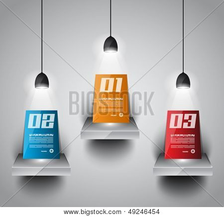 Shelf with 3 spotlights lamp with directional light for product advertisement, shopfront simulation or wall decoration.