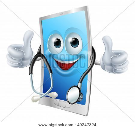 Health app mobile phone concept of a cell phone man with a stethoscope poster
