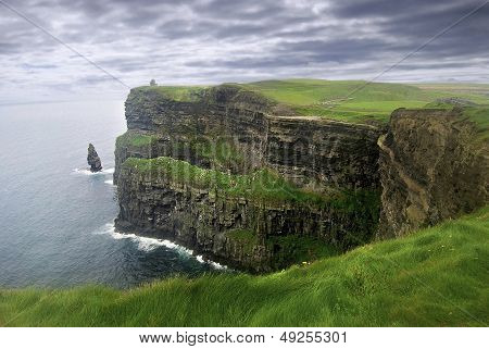 Stormy sky over Cliffs of Moher covered in lush grass in Ireland. poster