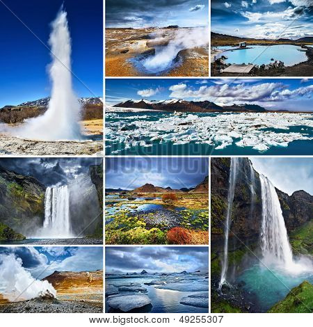 Collage of Iceland's most famous tourist attractions, such as geyser, waterfalls, icebergs and volcanoes. poster