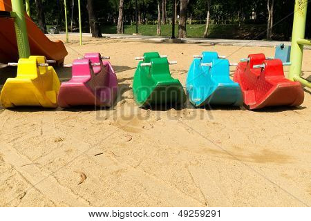 Colorful Toy Car In Playground For Kids