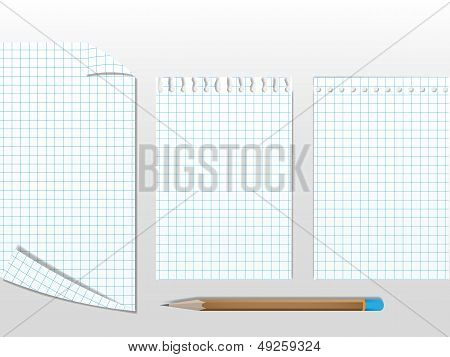 Workbook papers with pencil