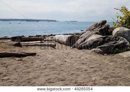 Ships On Horizon - Beach Foreground