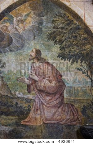 Jesus on the mount of olives. Saint Pierre Cathedral Poitiers France. poster