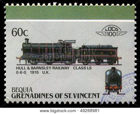BEQUIA - CIRCA 1985: A stamp printed in Grenadines of St. Vincent shows Hull and Barnsley Railway class LS 0-6-0, 1915 U.K., circa 1985