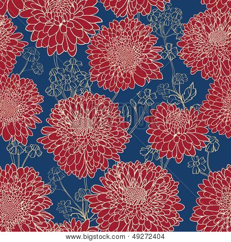 Gorgeous red flowers on blue background. Seamless floral pattern.