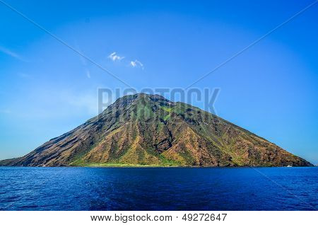 Stromboli Volcanic Island In Lipari Viewed From The Ocean, Sicily