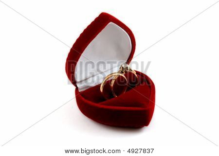 Wedding Rings In Fancy Box (on White)
