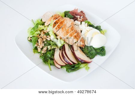 Plate Of Fresh Chopped Grilled Chicken Salad