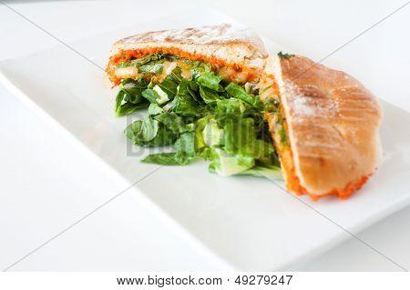 Italian Ciabatta Panini Sandwich With Cheese And Tomato