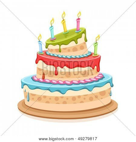 Sweet birthday cake with candles - eps10 vector illustration isolated on white background