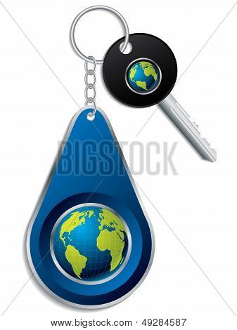 Key And Globe Design Keyholder