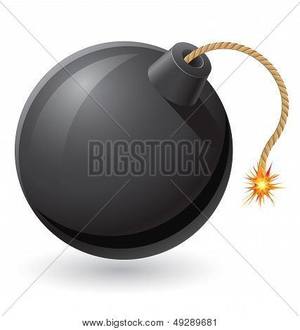 Black Bomb With A Burning Fuse Vector Illustration