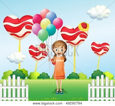 Illustration of a girl in the candyland with eight balloons