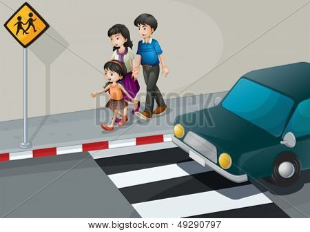 Illustration of a family walking at the street