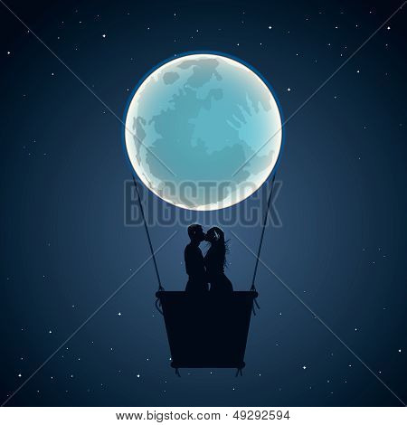 Lovers by hot air balloon in moon form