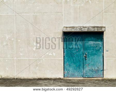 Old Green Steel Double Door