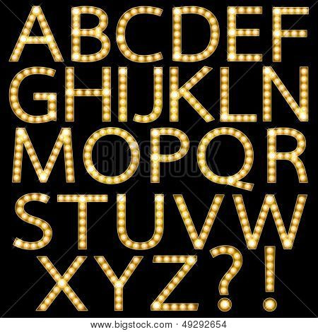 Set of Golden Broadway Light Bulb Alphabet A-Z