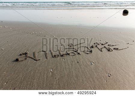 Letter Thailand - Ma Laew Na (to You) Sand On A Beach , Rayong Thailand