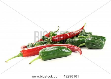 Green Pimientos With Red Hot Peppers