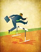 Illustration of businessman with briefcase jumping over hurdles on running track. poster
