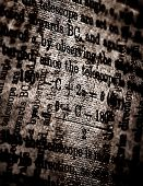 Close up of old grunge Science book poster