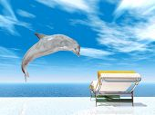 Computer generated 3D illustration with Jumping Dolphin and Deck Chair poster
