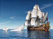 Computer generated 3D illustration with Sailing Ship and White Whale poster
