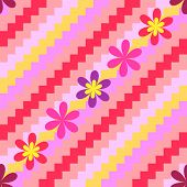 Diagonal pink seamless floral striped background (vector) poster