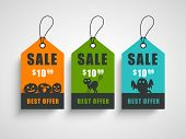 Sale, discount or offer tags, sticker or labels for Happy Halloween.  poster