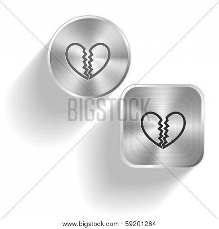 Unrequited love. Raster set steel buttons