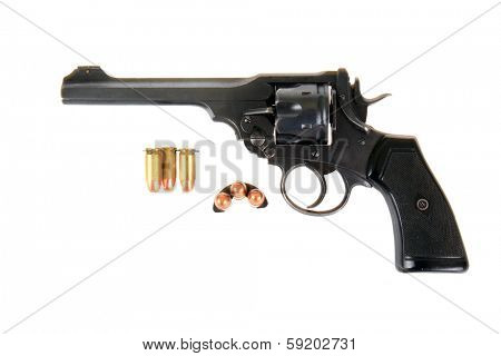 A Genuine antique 1915 British Webley Mark VI revolver which shoots the .455 caliber shell, and the .45 APC fitted with a half moon clip. Isolated on white with room for your text poster