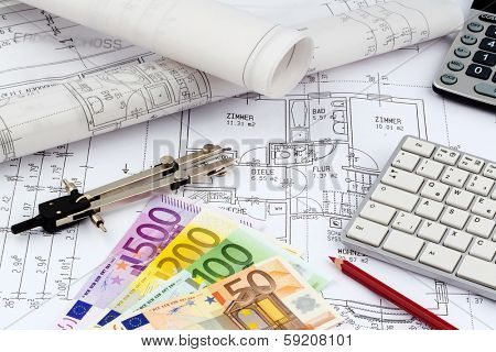 an architect's blueprint with euro money. symbolic photo for funding and planning of a new house.