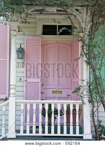 Front Porch With Pink Door