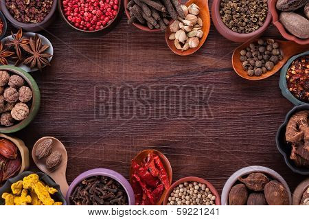 Large Set Of Spices And Seasonings, Top View