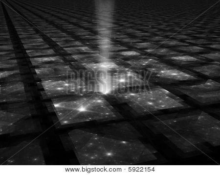 Spacetime - B&W Fractal Illustration
