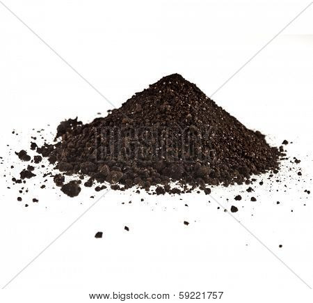 Pile of composition of the iron powder and vermiculite  Isolated on White Background poster