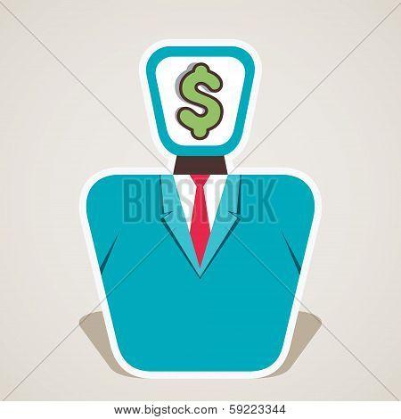dollar symbol on businessmen face