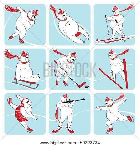 Set Of White Bear Plays Winter Sport. Humorous Illustration.