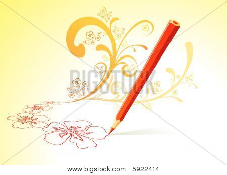 Vector illustration of the drawing pen