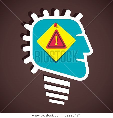hazard attention sign in human head stock vector