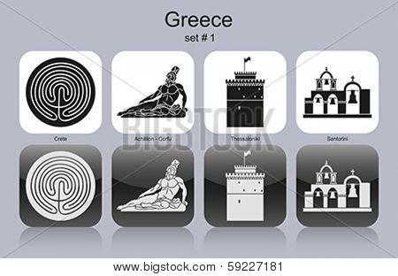 Landmarks of Greece. Set of monochrome icons. Editable vector illustration.