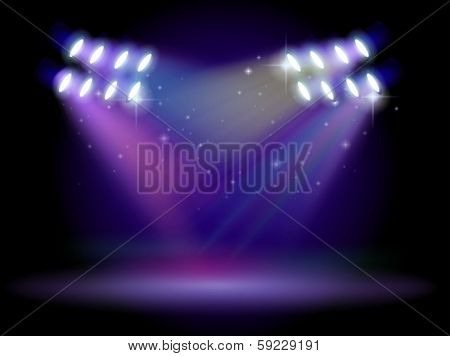 Illustration of an empty stage with lights