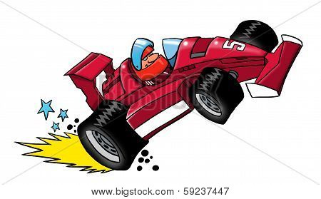 Cartoon race driver sitting in a racing car poster