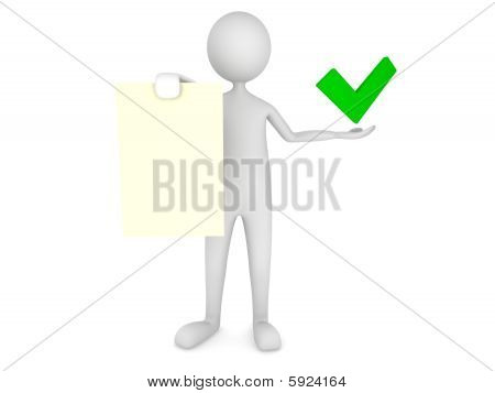 Man showing paper sheet with tick mark