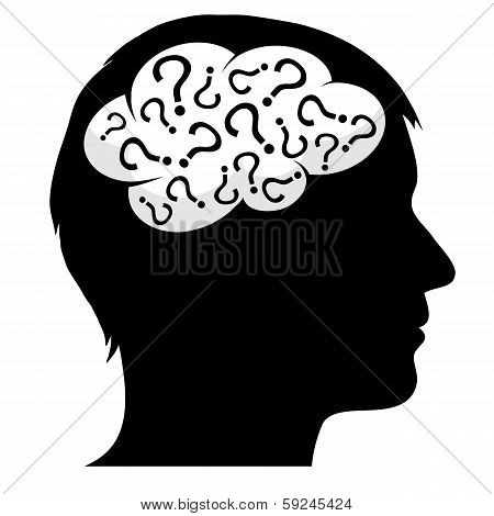 Male Silhouette With Question Marks