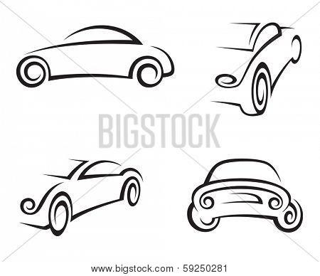 set of four monochrome car