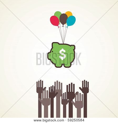 saving or making money concept vector
